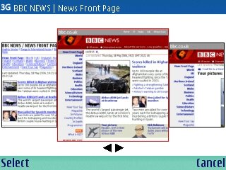 History page of Nokia E61 browser