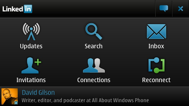 LinkedIn for Symbian homescreen