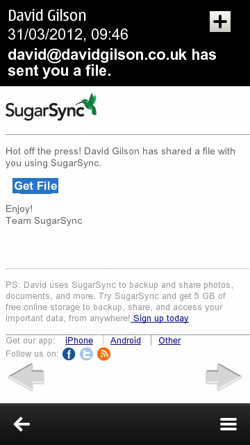 SugarSync for Symbian