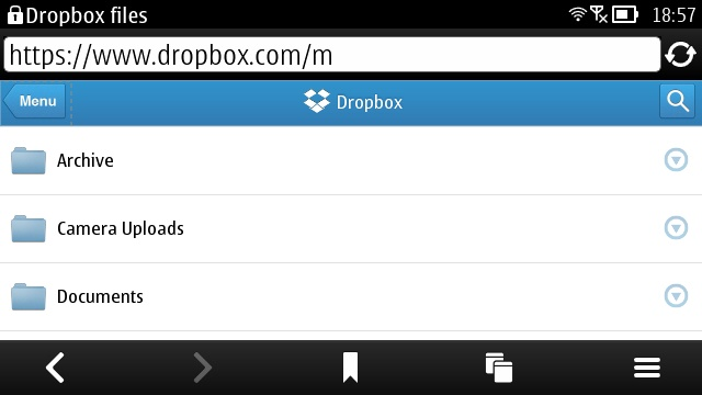 Dropbox Mobile Website