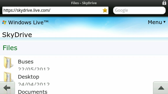 SkyDrive Mobile website