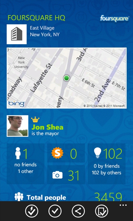 Foursquare, Windows Phone 7